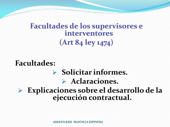Facultades de los supervisores e interventores