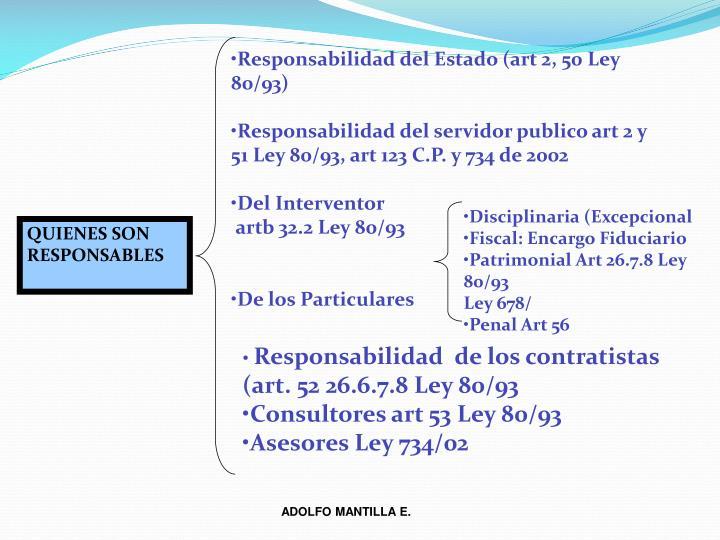 Responsabilidad del Estado (art 2, 50 Ley 80/93)