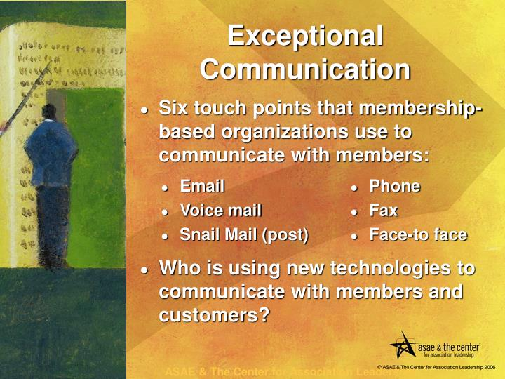 Six touch points that membership-based organizations use to communicate with members: