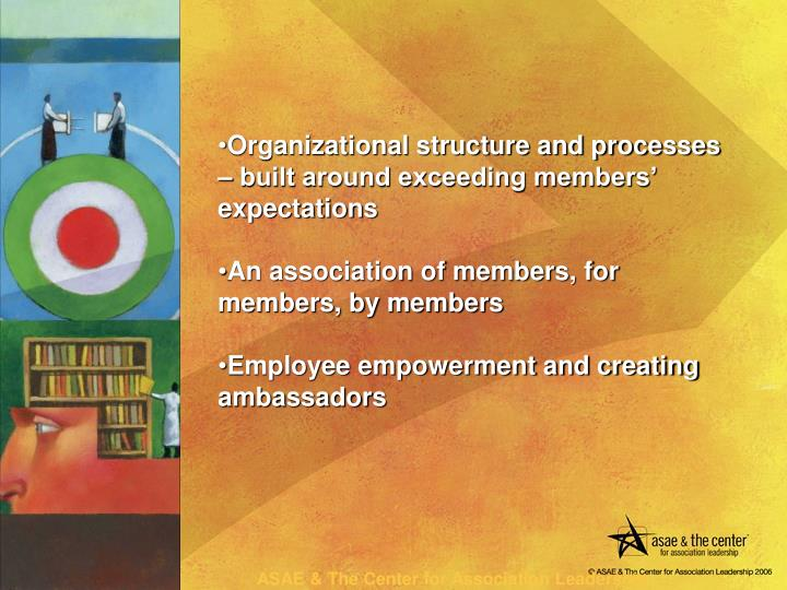 Organizational structure and processes – built around exceeding members' expectations