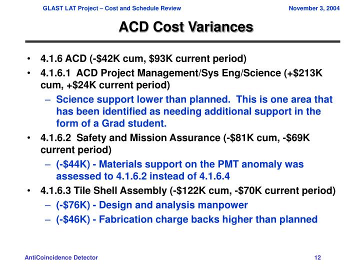 ACD Cost Variances