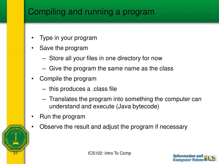 Compiling and running a program