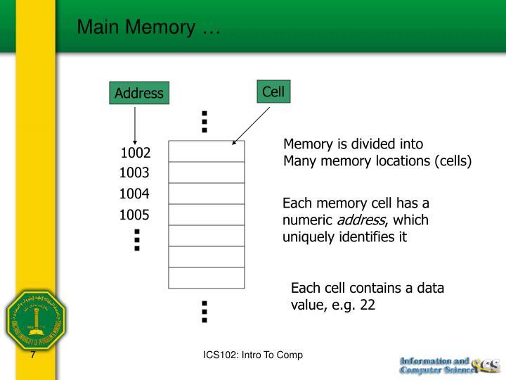 Main Memory …