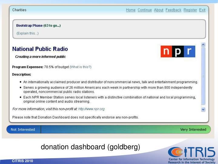 donation dashboard (goldberg)