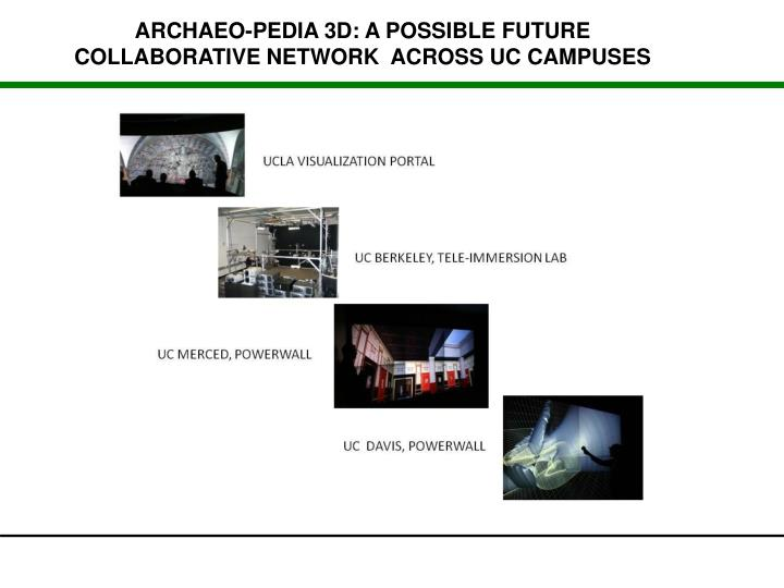 ARCHAEO-PEDIA 3D: A POSSIBLE FUTURE COLLABORATIVE NETWORK  ACROSS UC CAMPUSES
