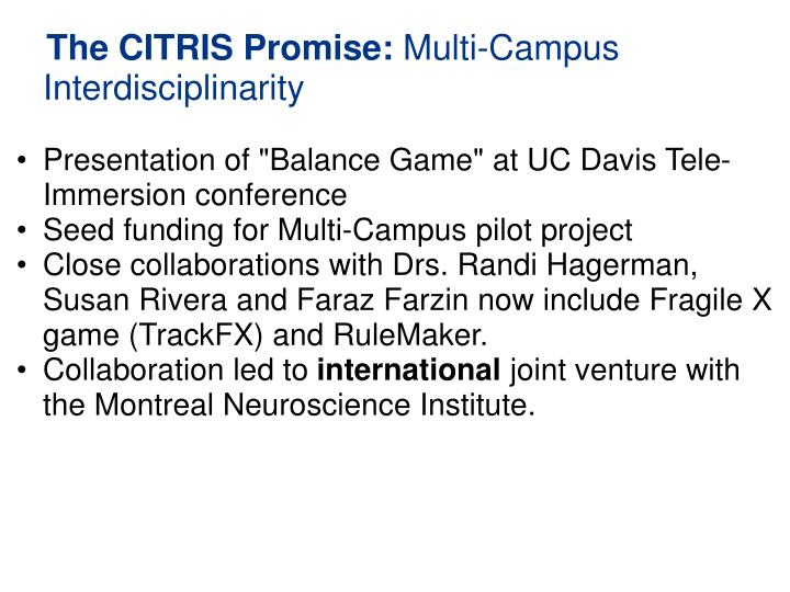 "Presentation of ""Balance Game"" at UC Davis Tele-Immersion conference"