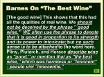 barnes on the best wine
