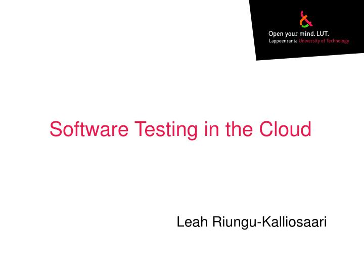 software testing in the cloud n.