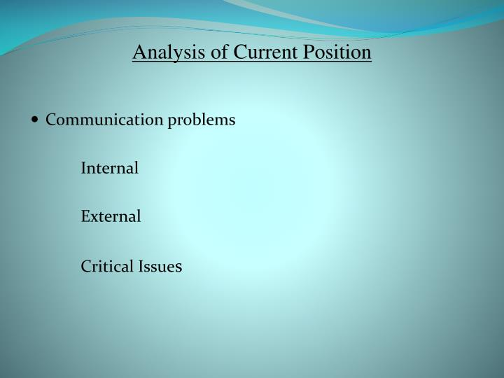 Analysis of Current Position