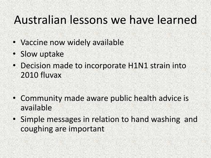 Australian lessons we have learned