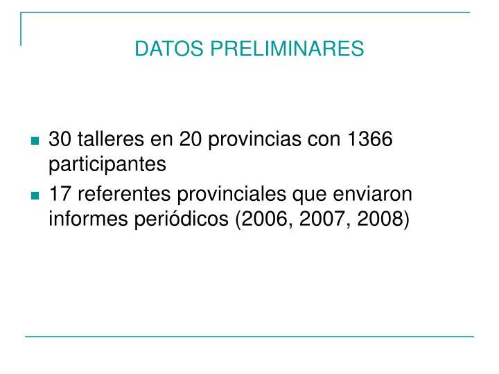DATOS PRELIMINARES