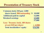 presentation of treasury stock