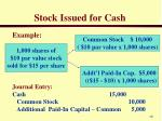stock issued for cash