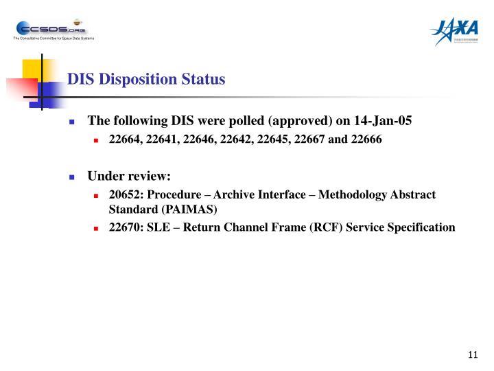 DIS Disposition Status