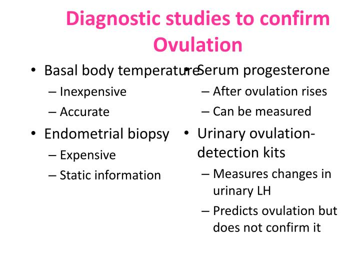 Diagnostic studies to confirm Ovulation