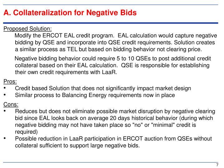 A. Collateralization for Negative Bids