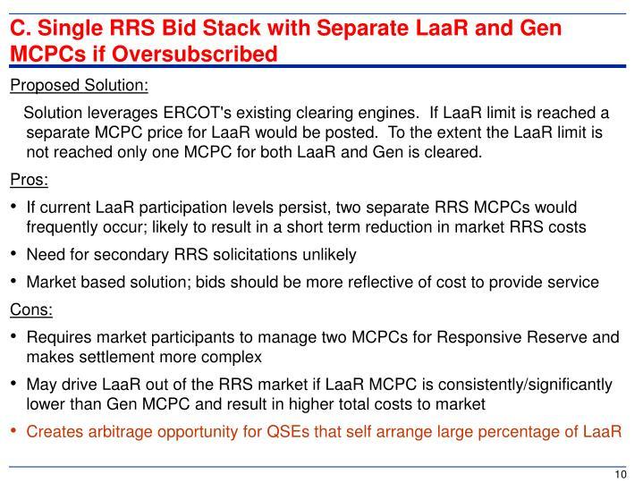 C. Single RRS Bid Stack with Separate LaaR and Gen MCPCs if Oversubscribed