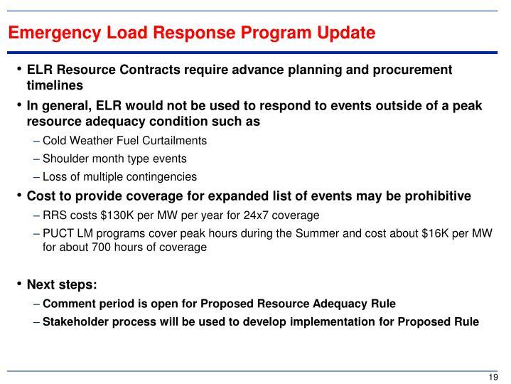 Emergency Load Response Program Update