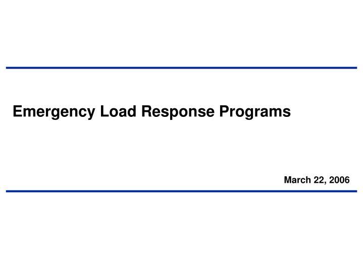 Emergency Load Response Programs