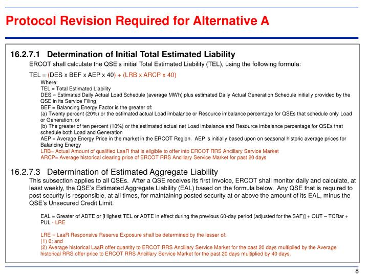 Protocol Revision Required for Alternative A