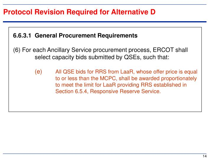 Protocol Revision Required for Alternative D