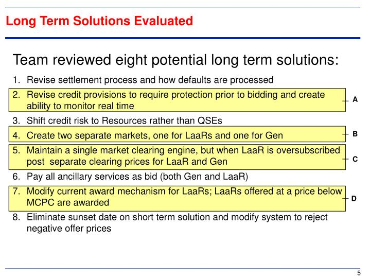 Long Term Solutions Evaluated