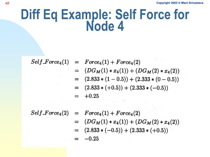 Diff Eq Example: Self Force for Node 4