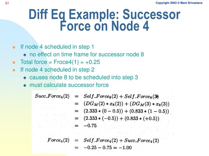 Diff Eq Example: Successor Force on Node 4