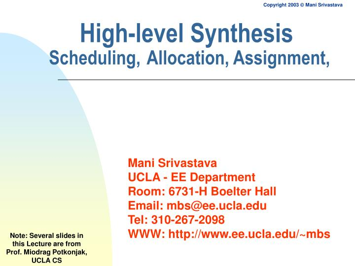 High level synthesis scheduling allocation assignment