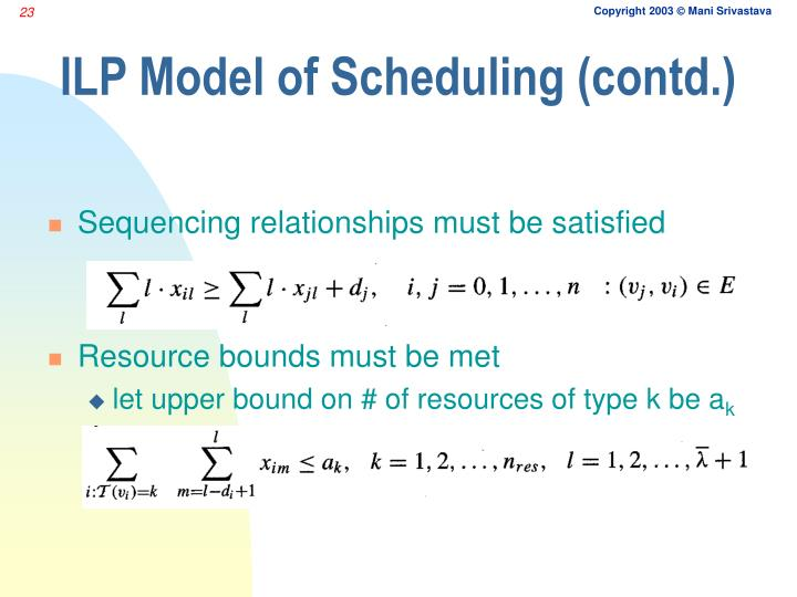 ILP Model of Scheduling (contd.)
