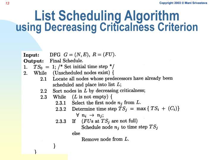 List Scheduling Algorithm