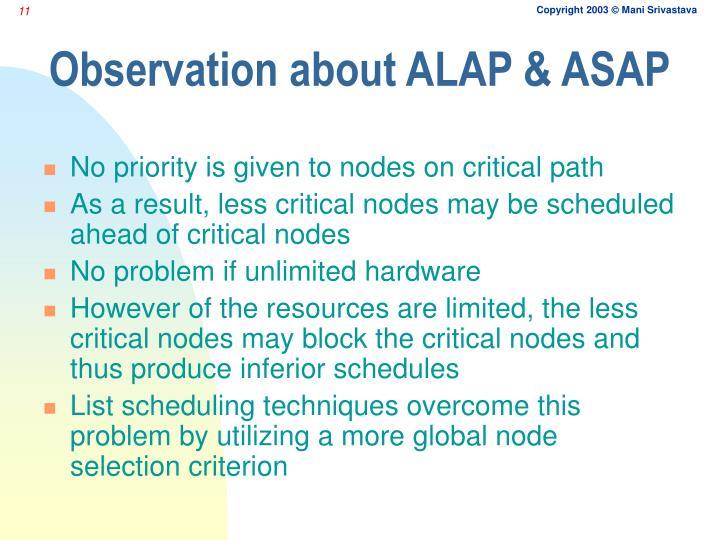 Observation about ALAP & ASAP