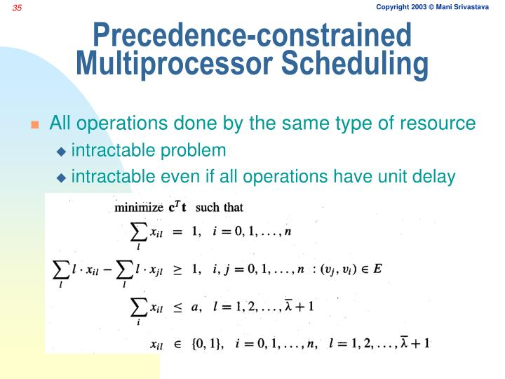 Precedence-constrained Multiprocessor Scheduling