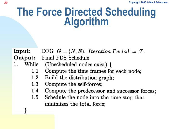 The Force Directed Scheduling Algorithm