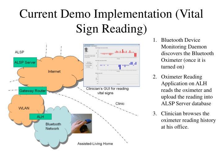 Current Demo Implementation (Vital Sign Reading)