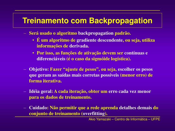 Treinamento com Backpropagation