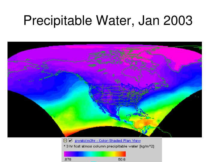 Precipitable Water, Jan 2003