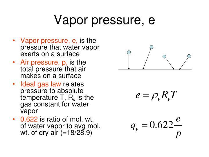 Vapor pressure, e