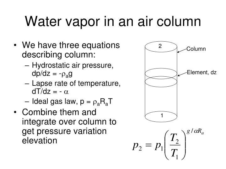 Water vapor in an air column