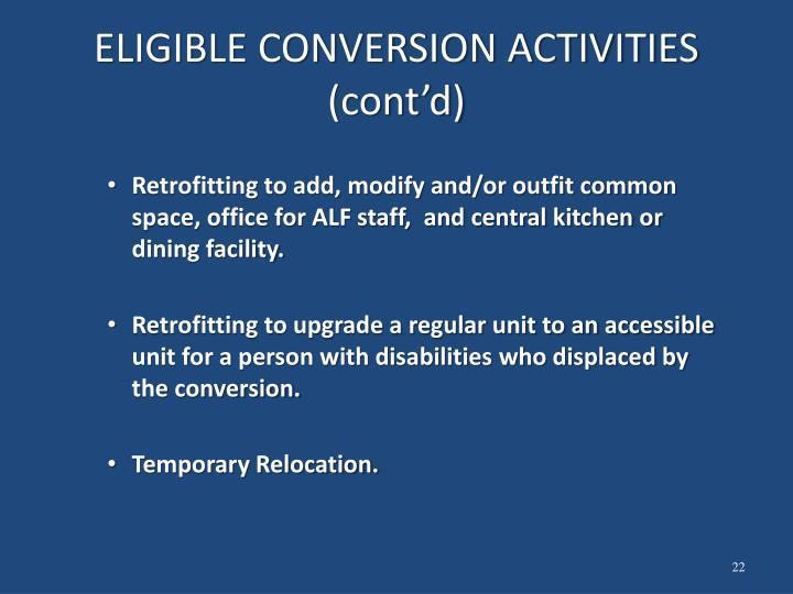 ELIGIBLE CONVERSION ACTIVITIES (cont'd)