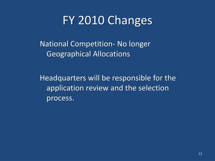 FY 2010 Changes