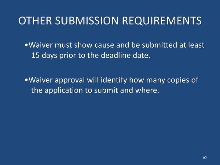 OTHER SUBMISSION REQUIREMENTS