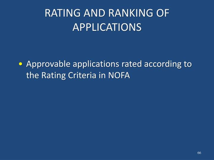 RATING AND RANKING OF APPLICATIONS