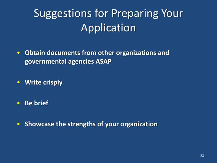 Suggestions for Preparing Your Application
