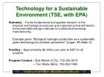 technology for a sustainable environment tse with epa