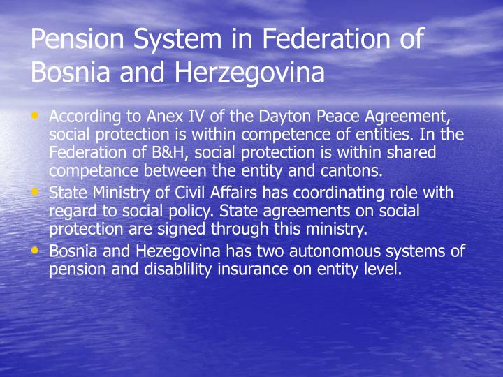 Pension system in federation of bosnia and herzegovina