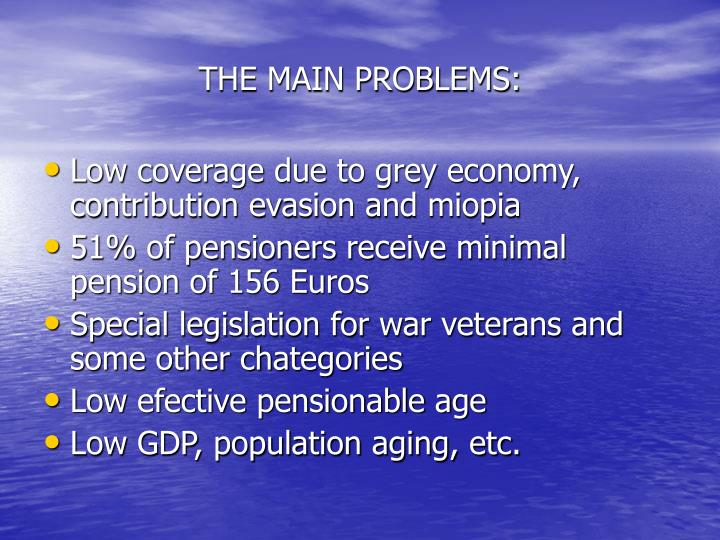 THE MAIN PROBLEMS: