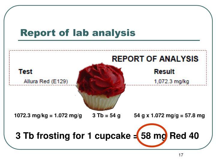 Report of lab analysis