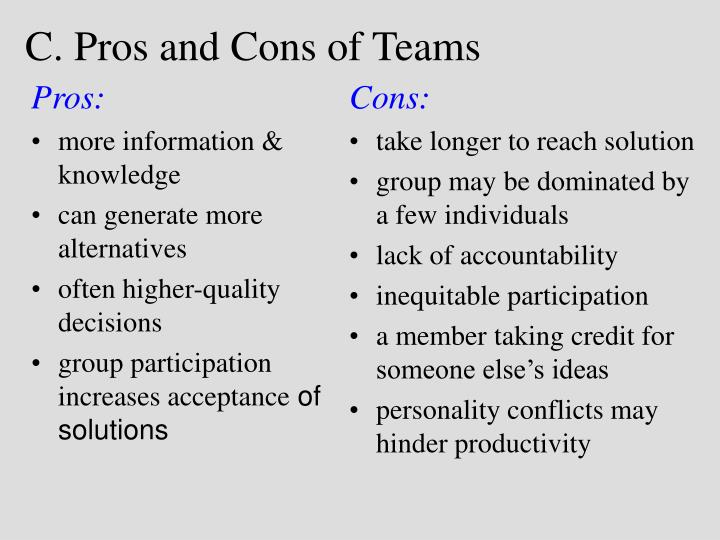 c pros and cons of teams