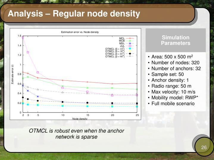 Analysis – Regular node density